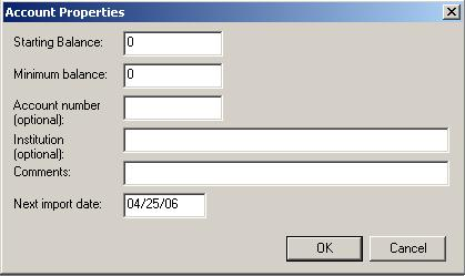 Account Properties Dialog