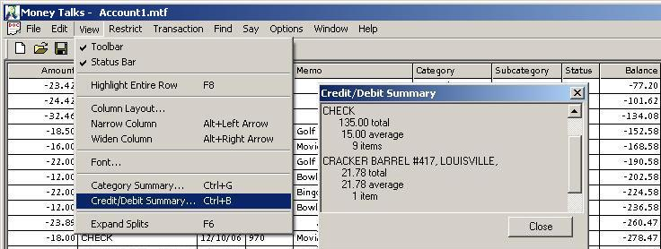 Credit/Debit Summary Screen