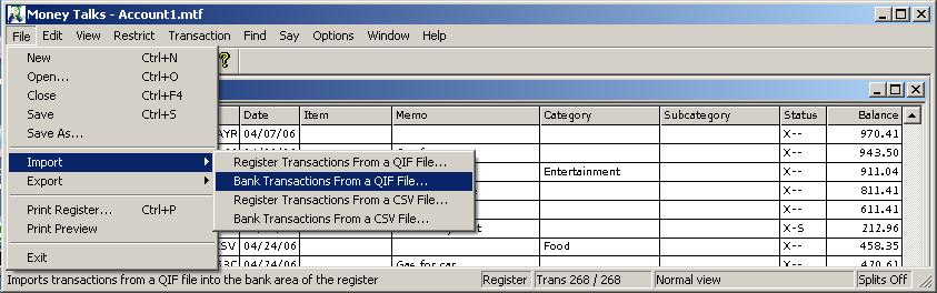 Import the QIF File