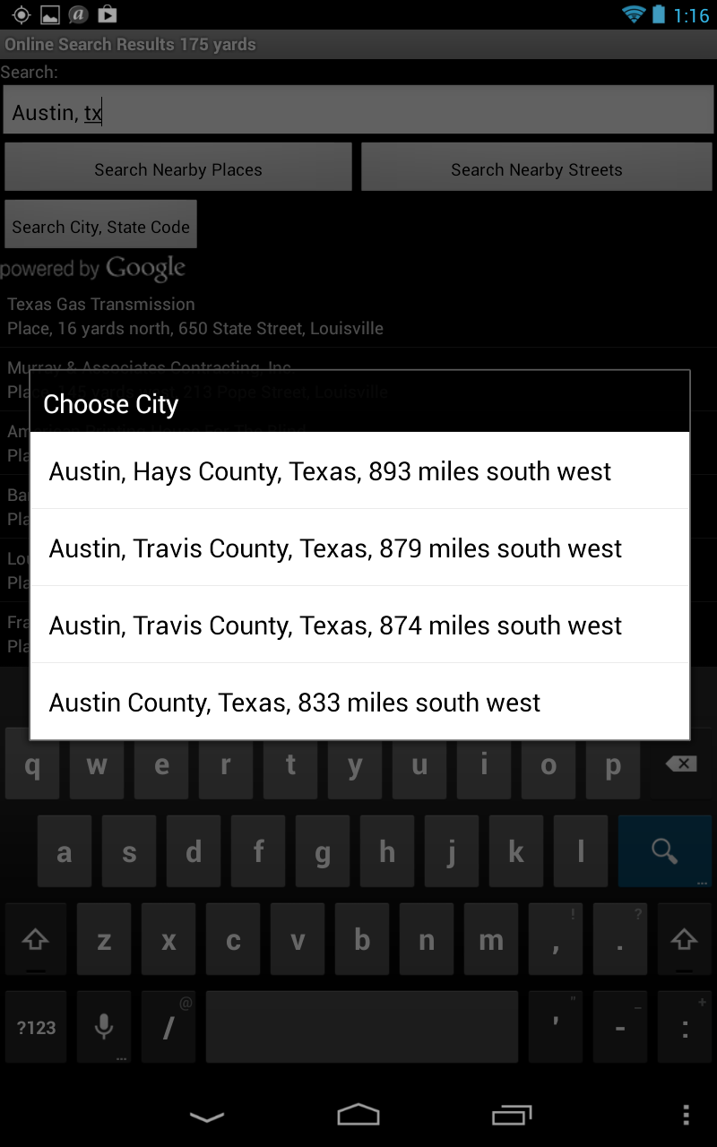 Screen shot of a list of matching cities and counties for Austin, Texas