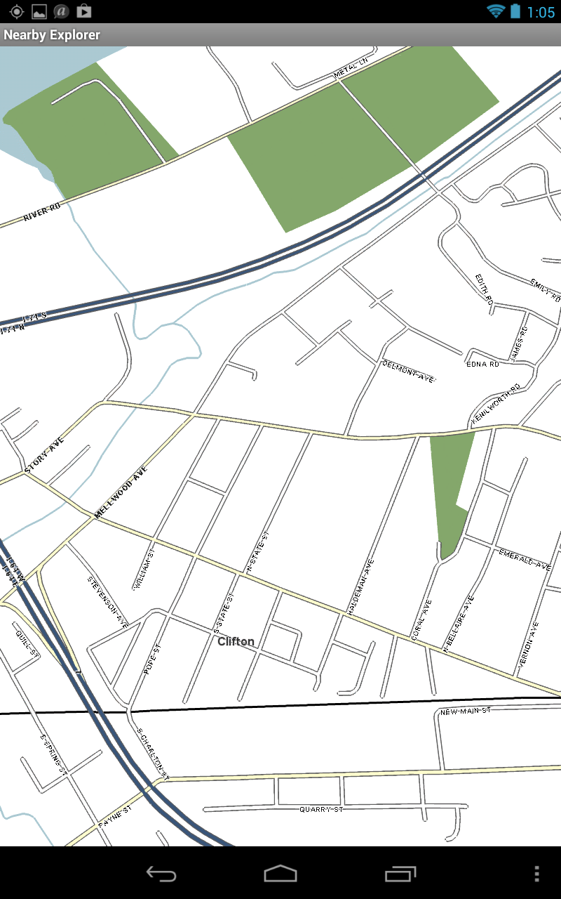 Screen shot of a street map on Nearby Explorer