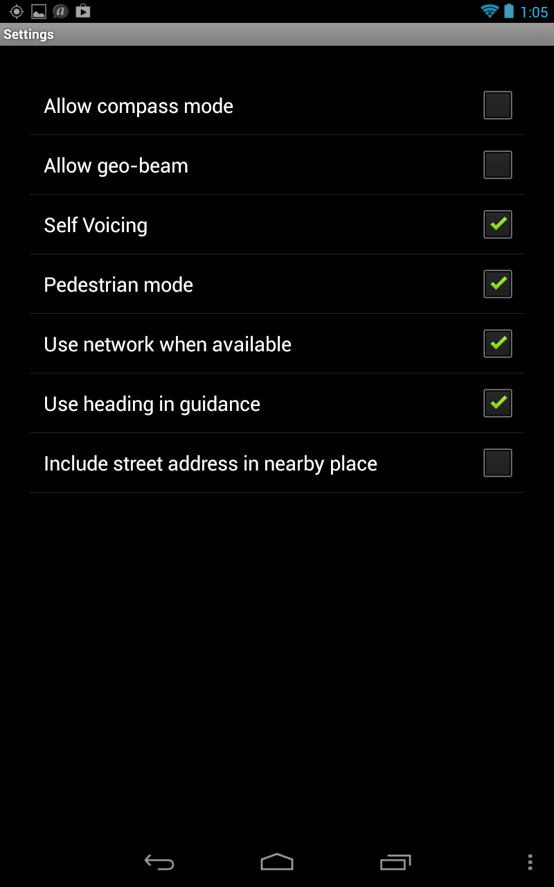 Screen shot of Settings menu with several options checked
