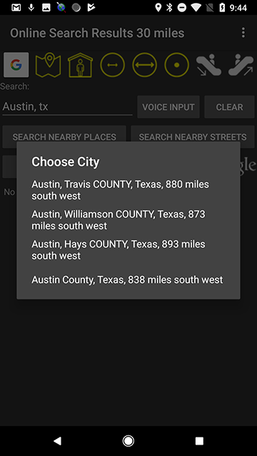 Screenshot of a list of matching cities and counties for Austin, Texas