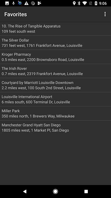 Screenshot of a Favorites list