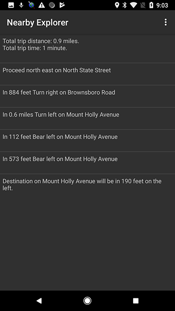 Screenshot of a list of directions to a POI