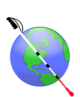 Nearby Explorer logo - a white cane in front of a globe