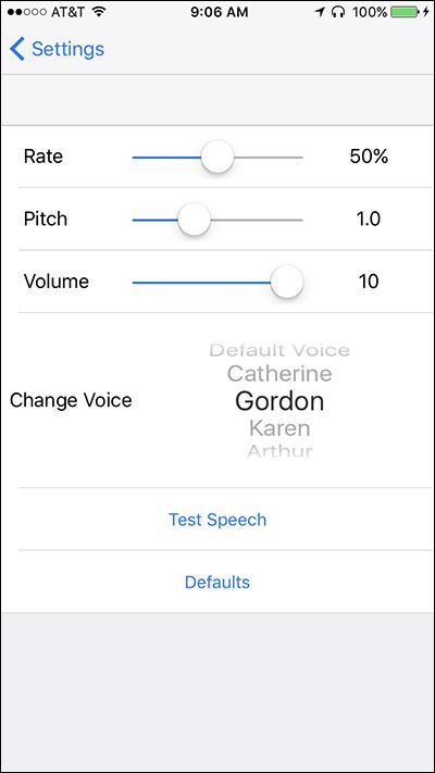 Screen shot of Speech settings in the Settings menu on Nearby Explorer