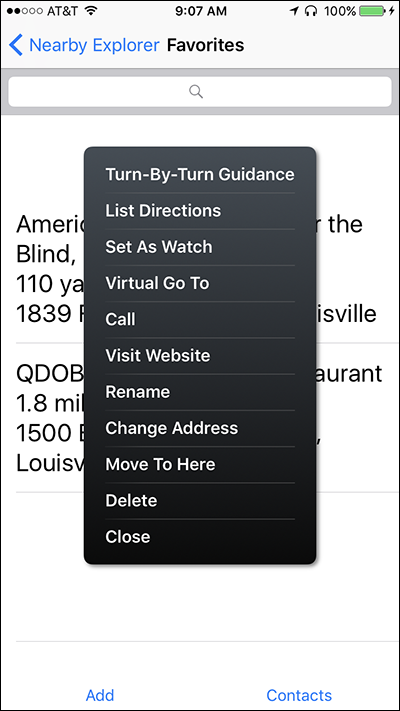 Screenshot of the Favorites Context menu on Nearby Explorer