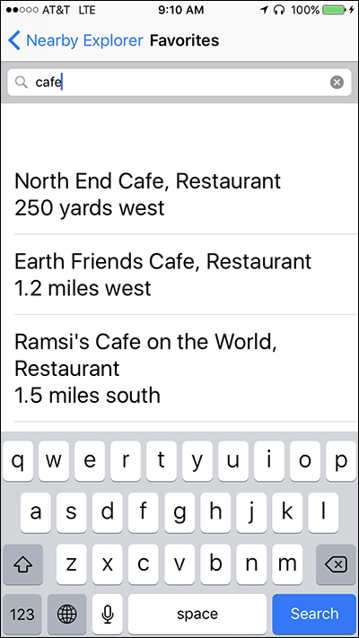 Screenshot of the search screen for Favorites on Nearby Explorer