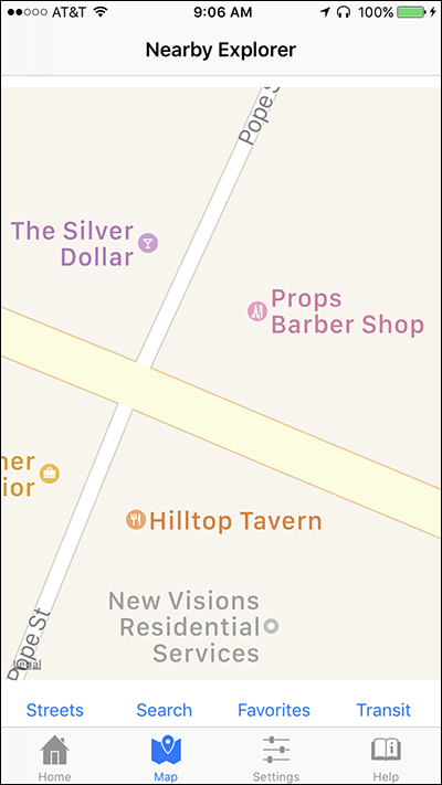 Screen shot of a zoomed in Map View on Nearby Explorer