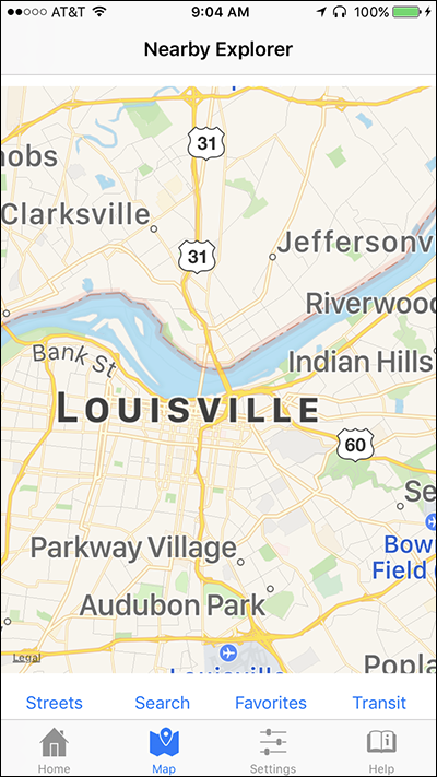 Screen shot of a zoomed out Map View on Nearby Explorer