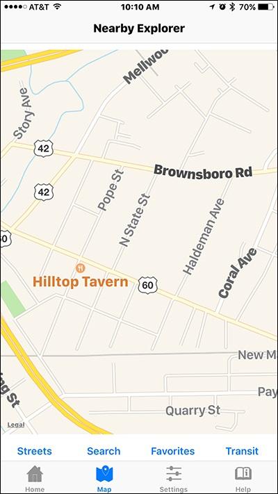 Screenshot of a street map in Nearby Explorer