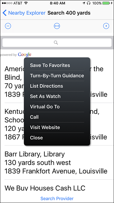 Screenshot of the Context Menu for Search on Nearby Explorer