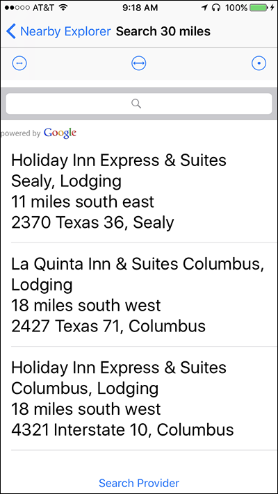 Screenshot of search results for Texas on Nearby Explorer