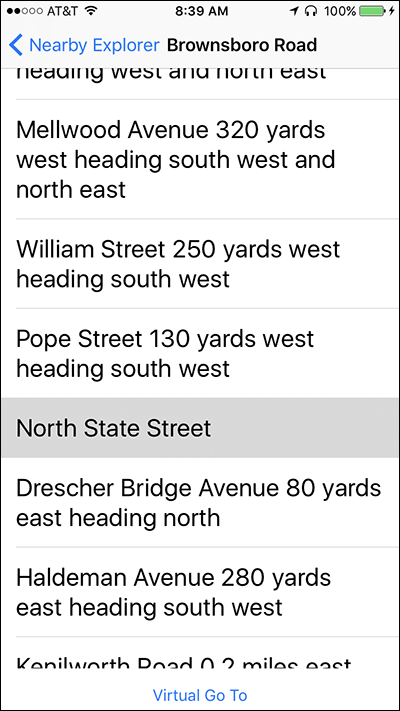 Screenshot of the Streets screen on Nearby Explorer
