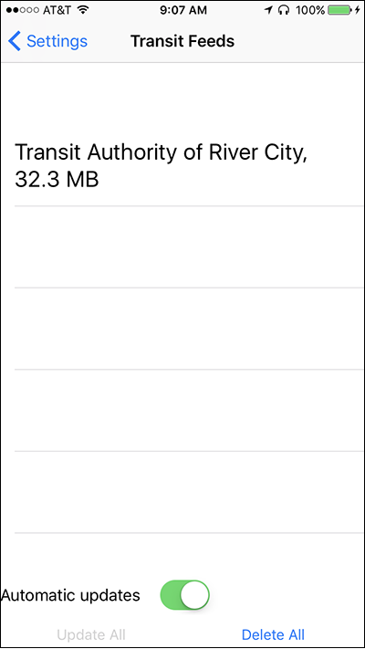Screen shot of the Transit Feeds screen on Nearby Explorer