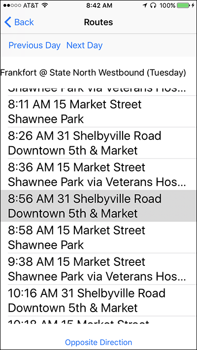 Screenshot of the Routes screen on Nearby Explorer