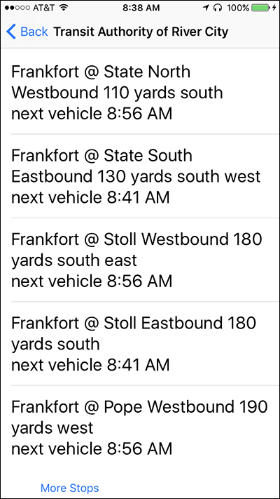 Screenshot of the Transit Stops screen on Nearby Explorer