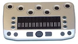 Three small buttons on each side of the BrailleConnect 12