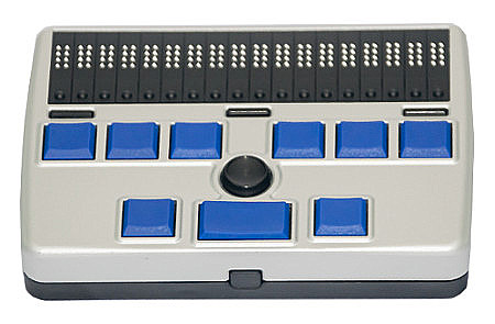 Image of Refreshabraille 18 braille display with braille display at top of device.