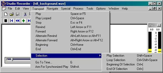 Image of Studio Recorder Selection Transport Functions