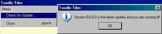 Toodle Tiles Check for Update selection