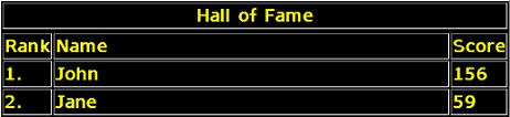 Hall of Fame Screen