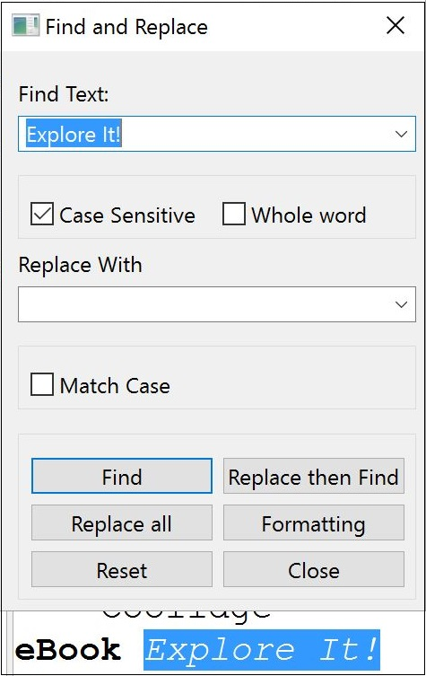 find and replace window with examplefind button selected