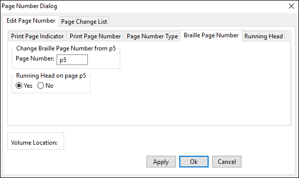 page number dialog window; edit page number tab; braille page number tab