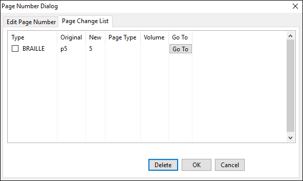 page number dialog window; page change list tab; delete button selected
