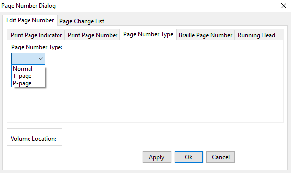 page number dialog window; edit page number tab; page number type tab