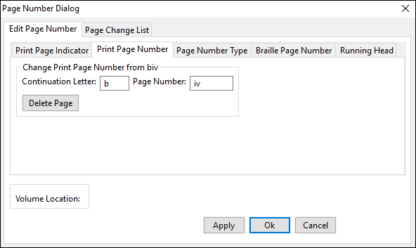 page number dialog window; edit page number tab; print page number tab