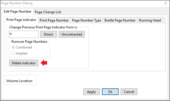 page number dialog window; edit page number tab; print page indicator tab; red arrow pointing at delete indicator button