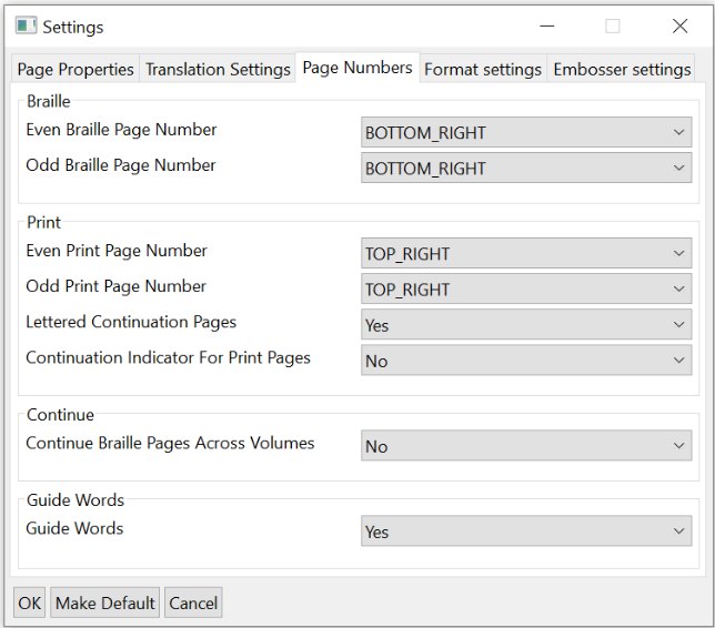 Settings window; Page Numbers tab