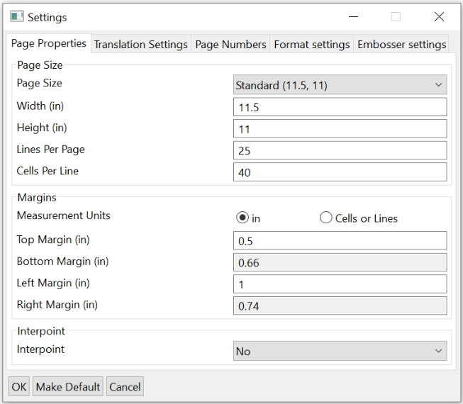 Settings window; Page Properties tab