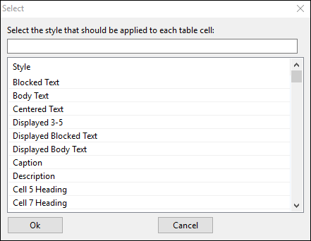 Select window to reformmat table