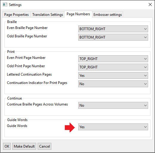 settings window; page numbers tab; guide words on indicated with red arrow