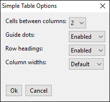 simple table options window