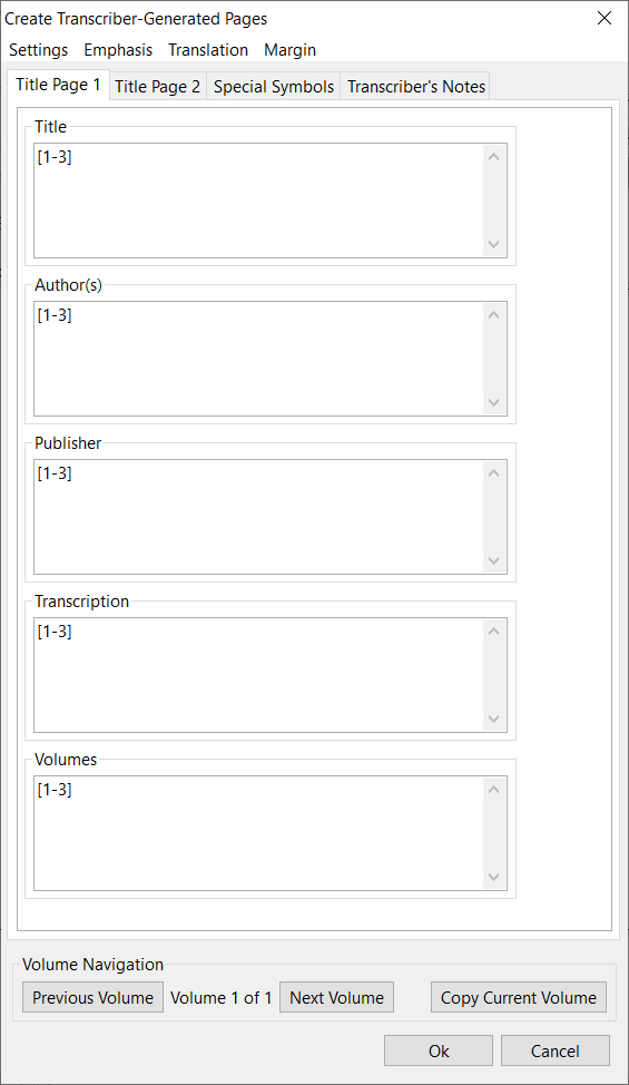 create transcriber-generated pages window; title page 1 tab