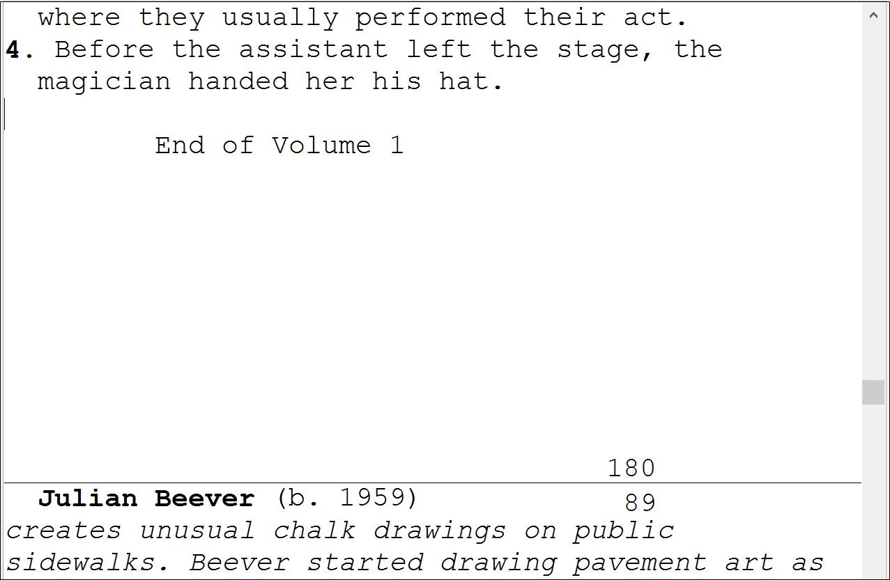 volume break inserted text example